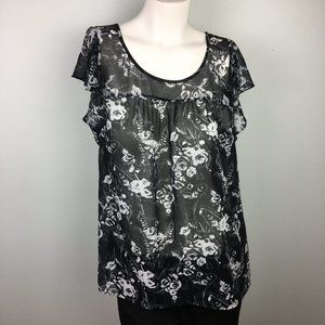 LOFT Flutter Short Sleeve Top Black White Floral